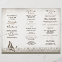 Tri fold elegant vintage wedding programs