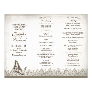 Tri fold elegant vintage wedding programs