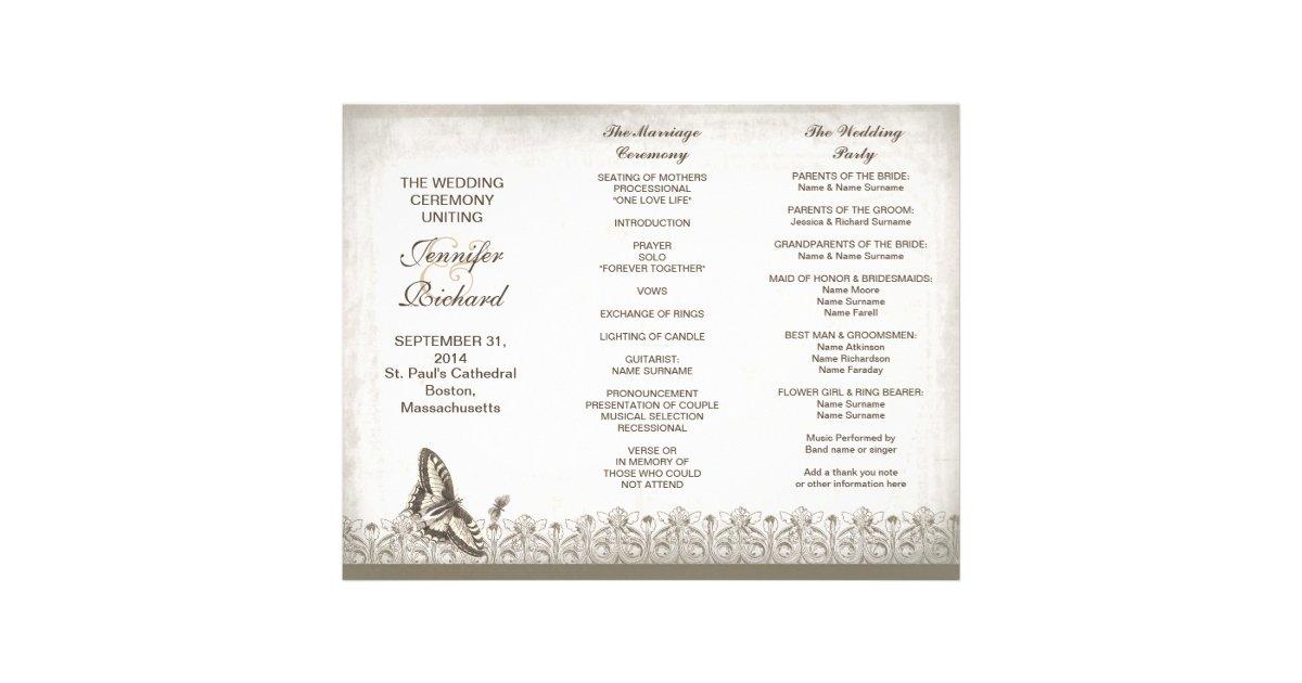 Tri Fold Elegant Vintage Wedding Programs Letterhead