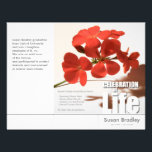 """Tri-Fold Geranium Memorial Service Program Flyers<br><div class=""""desc"""">Fold in 3 parts like a book,  not accordion folding. You can easily change text color,  font,  size and position by clicking the customize button.</div>"""