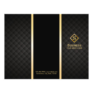 Tri-Fold Gold Diamond Monogram Elegant Brochures