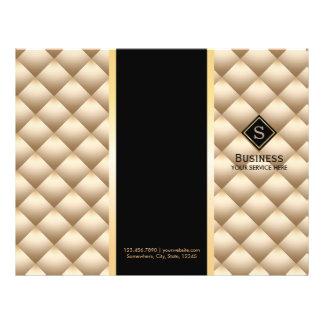 Tri-Fold Gold Quilted Monogram Modern Brochures