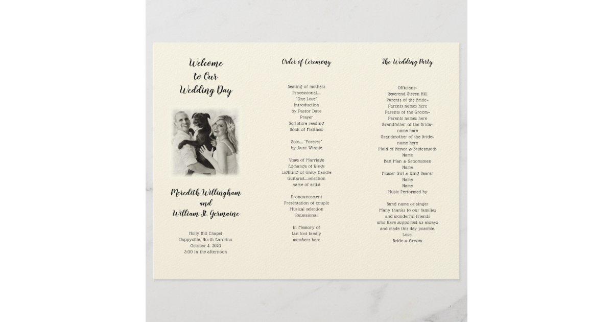 Tri Fold Photo Wedding Ceremony Program Template Zazzle Com
