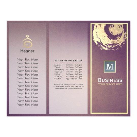tri fold yoga studio brochure purple gold zen sign zazzle com