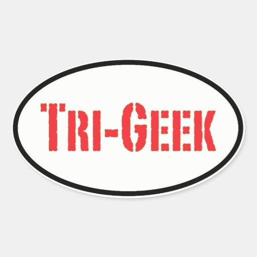 tri-geek oval sticker