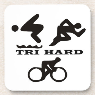 Tri Hard Triathlon Gifts Clothing and Accessories Coaster