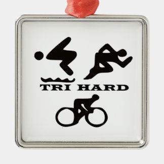 Tri Hard Triathlon Gifts Clothing and Accessories Square Metal Christmas Ornament