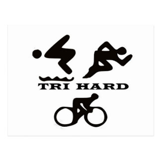 Tri Hard Triathlon Gifts Clothing and Accessories Postcards