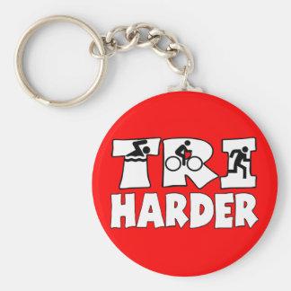 Tri Harder Basic Round Button Keychain
