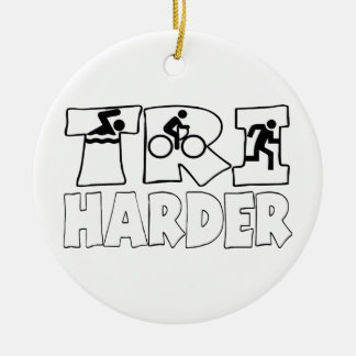 Tri Harder Double-Sided Ceramic Round Christmas Ornament
