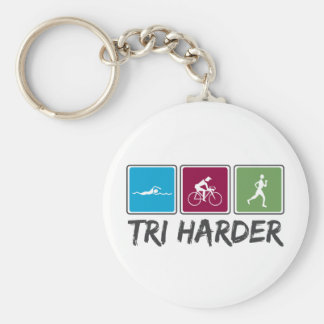 Tri Harder (Triathlon) Basic Round Button Keychain