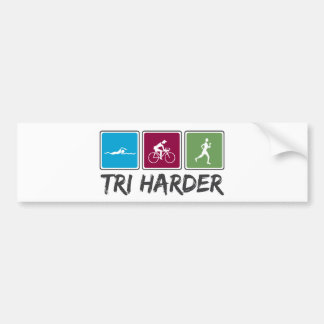 Tri Harder (Triathlon) Bumper Sticker