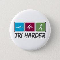 Tri Harder (Triathlon) Button