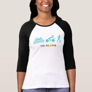 Tri hawaiana 3/4 camiseta del raglán de la manga