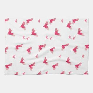 Tri-Hearts Kitchen Towel (pink) at Zazzle