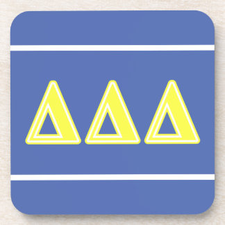Tri letras del amarillo del delta posavasos de bebida