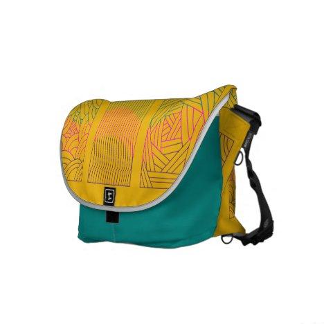 Tri-line Design Teal Pink Purple Messenger Bag