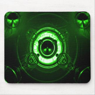 Tri llamarada verde de la lente alfombrilla de raton