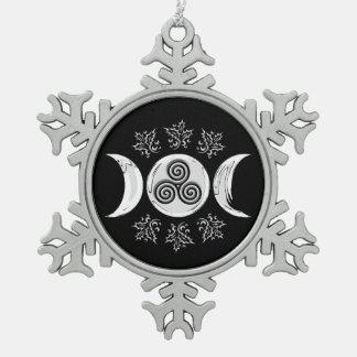 Tri Luna de plata enmarcada plata - copo de nieve Adorno De Peltre En Forma De Copo De Nieve