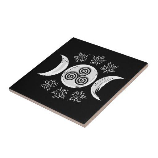 Tri Luna y pentáculo de plata, acebo - teja/Trivet Azulejo Cuadrado Pequeño