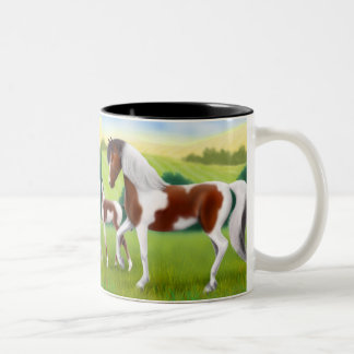 Tri Paint Horse and Foal Mug