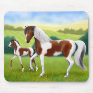 Tri Paint Mare and Foal Mousepad