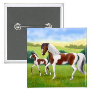Tri Paint Mare and Foal Pin