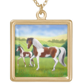 Tri Paint Mare & Foal Necklace