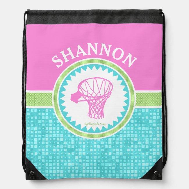 Tri-Pastel Color Basketball With Aqua Tile Drawstring Bag