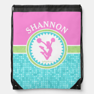 Tri-Pastel Color Cheerleading With Aqua Tile Drawstring Bag