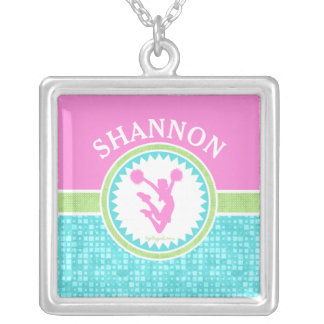 Tri-Pastel Color Cheerleading With Aqua Tile Silver Plated Necklace
