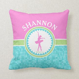 Tri-Pastel Color Dancer With Aqua Tile Throw Pillow