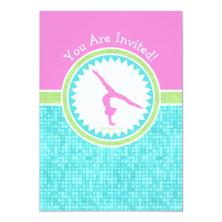 Tri-Pastel Color Gymnastics With Aqua Tile Card