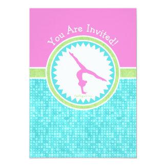 Tri-Pastel Color Gymnastics With Aqua Tile Card