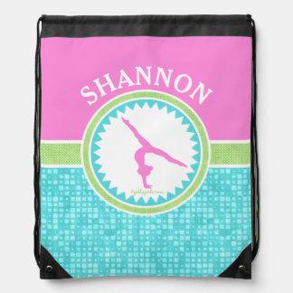 Tri-Pastel Color Gymnastics With Aqua Tile Drawstring Backpack