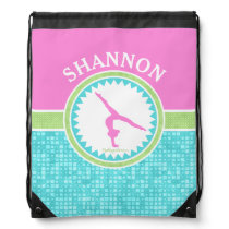 Tri-Pastel Color Gymnastics With Aqua Tile Drawstring Bag