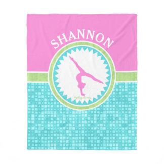 Tri-Pastel Color Gymnastics With Aqua Tile Fleece Blanket