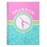 Tri-Pastel Color Gymnastics With Aqua Tile Notebook