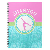 Tri-Pastel Color Gymnastics With Aqua Tile Notebook