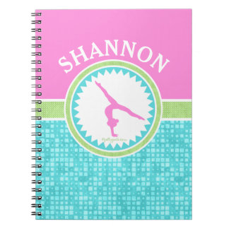 Tri-Pastel Color Gymnastics With Aqua Tile Spiral Notebook
