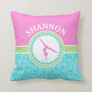 Tri-Pastel Color Gymnastics With Aqua Tile Throw Pillow