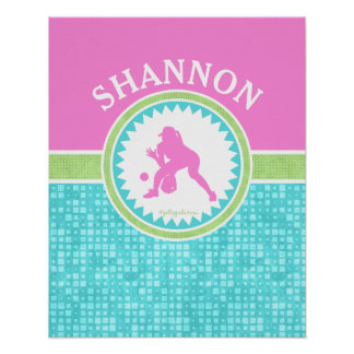 Tri-Pastel Color Softball With Aqua Tile Poster
