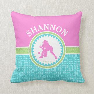 Tri-Pastel Color Softball With Aqua Tile Throw Pillow