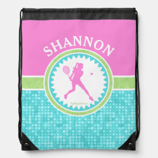 Tri-Pastel Color Tennis With Aqua Tile Drawstring Backpack