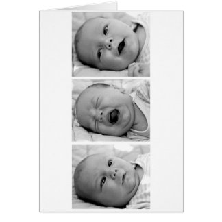 Tri-Photo Baby Announcement Cards