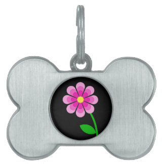 Tri-Pink Flower Pet ID Tag