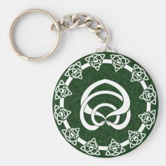 Tri-Point Celtic Knot; Serpent Center Basic Round Button Keychain