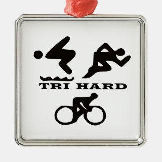 Tri regalos duros ropa y accesorios del Triathlon Ornamento De Navidad