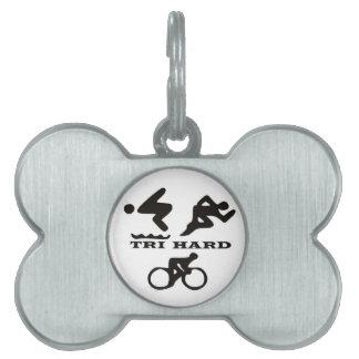 Tri regalos duros ropa y accesorios del Triathlon Placa De Mascota