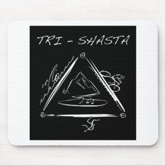 Tri-Shasta-Triathalon-Logo  (White on Black) Mouse Pad